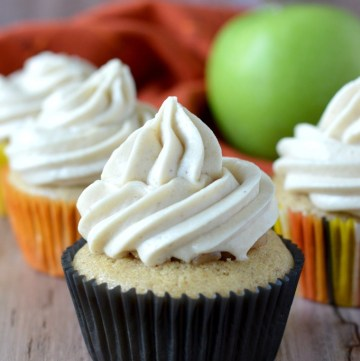 close-up of four apple pie cupcakes