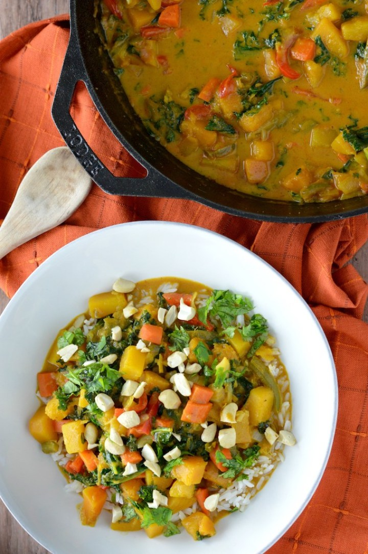 overlay of Thai butternut squash curry in white bowl