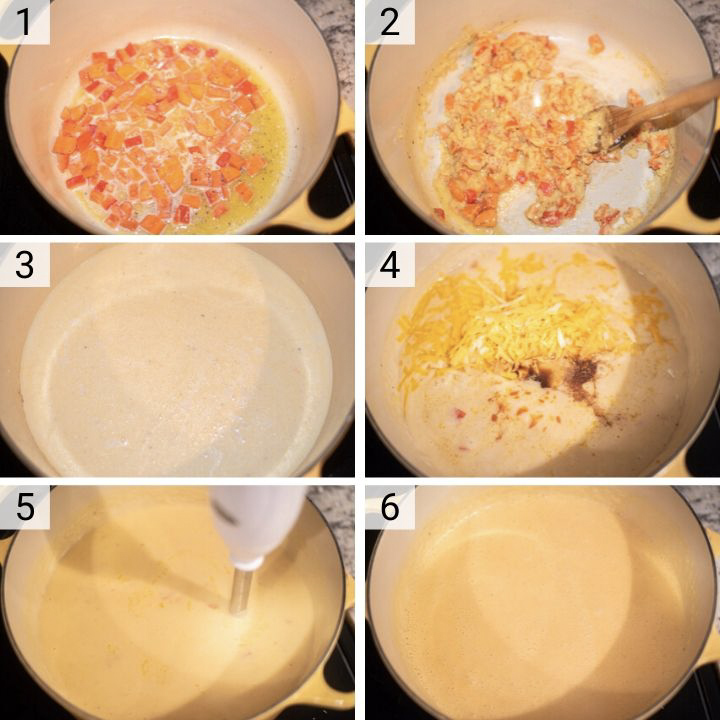 process shots of how to make beer cheese soup