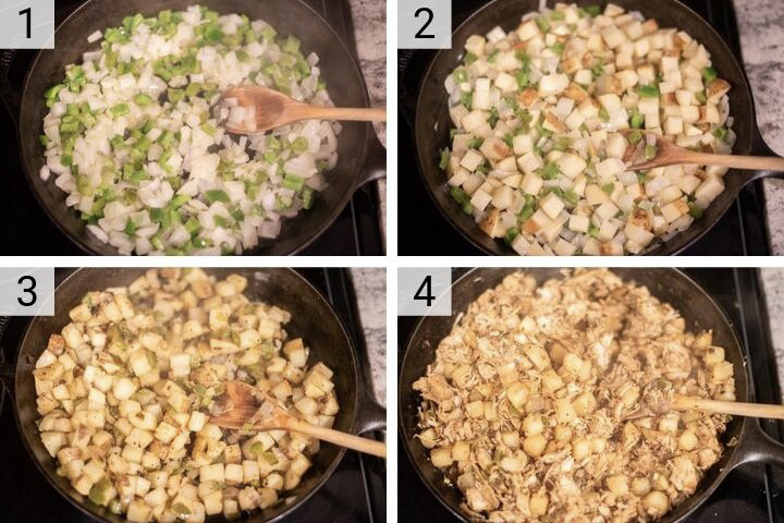 process shots of how to make turkey hash
