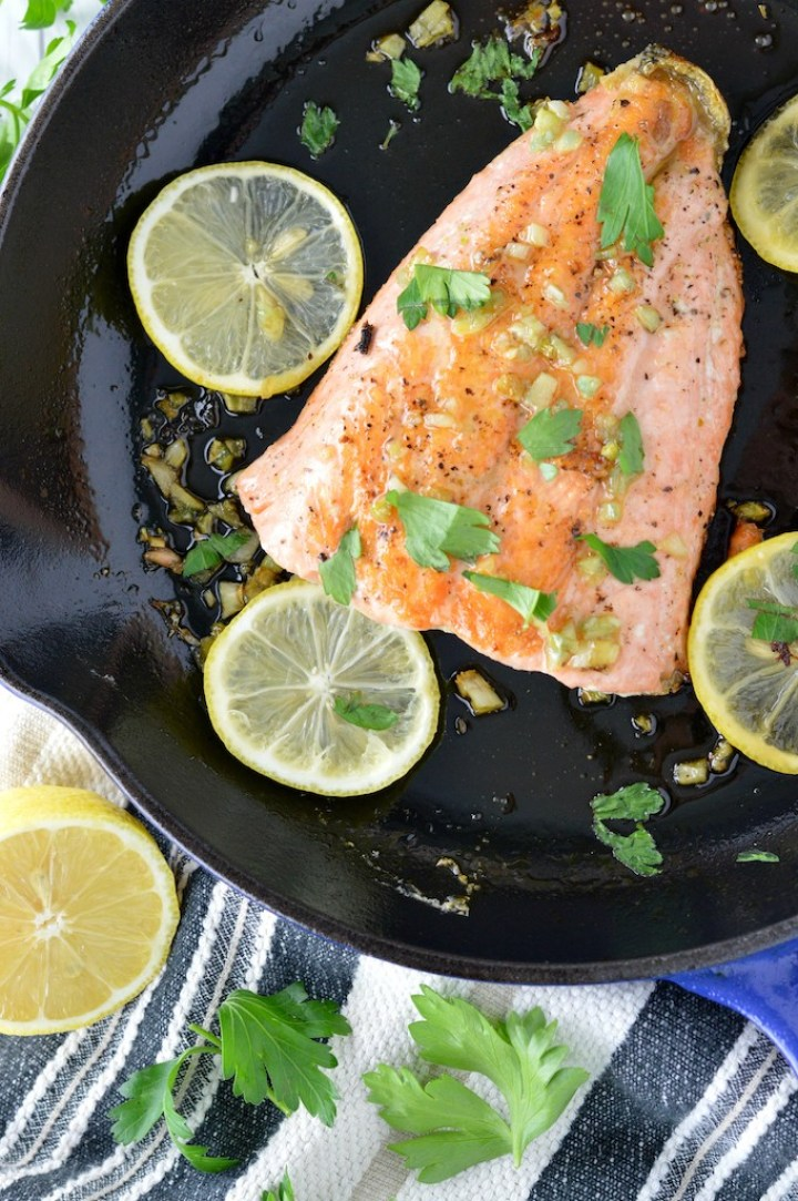 overhead shot of honey garlic salmon in skillet