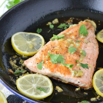 close-up of honey garlic salmon in skillet