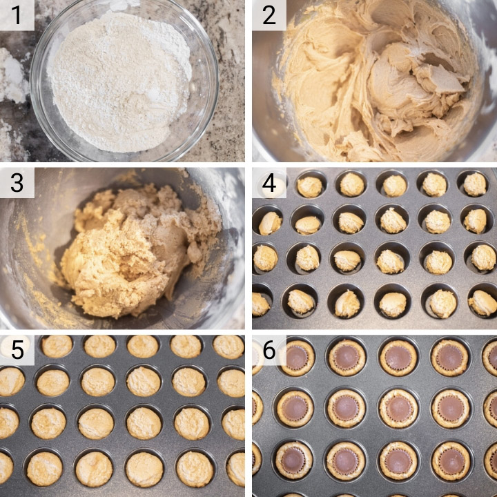 process shots of how to make peanut butter cup cookies