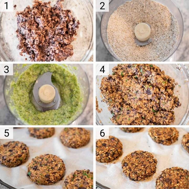 process shots of how to make black bean veggie burgers