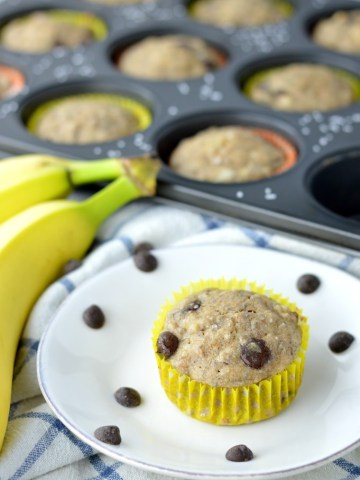 close-up of vegan banana chocolate chip muffins on white plate and muffin pan
