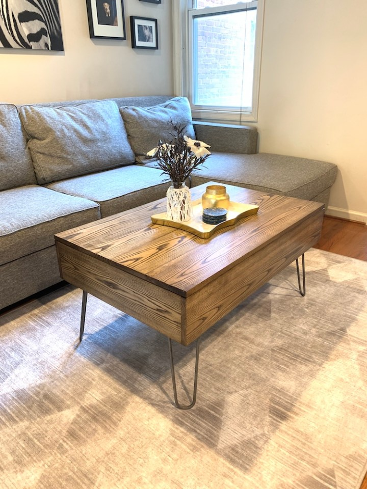 photo of DIY lift top coffee table in living room