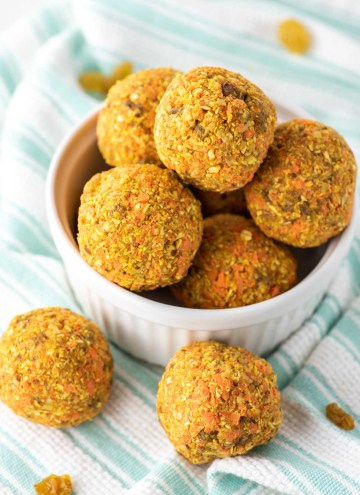 carrot cake balls in white ramekin on dish towel