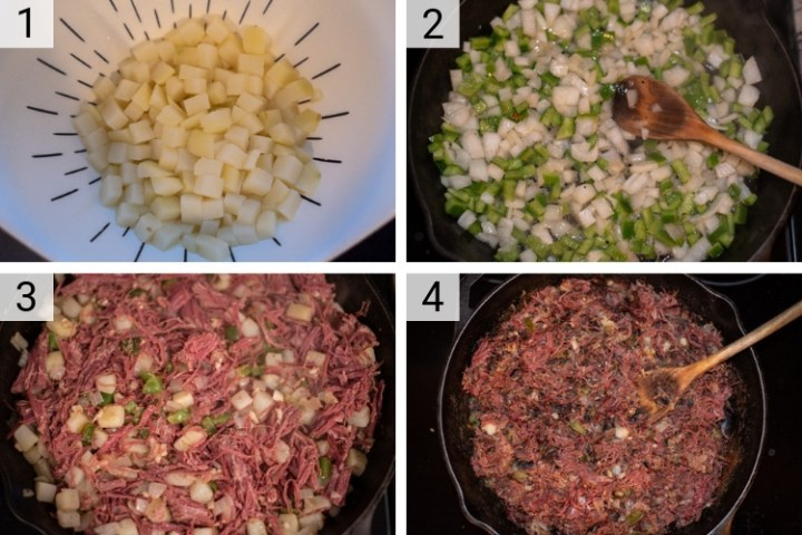 process shots of how to make corned beef hash