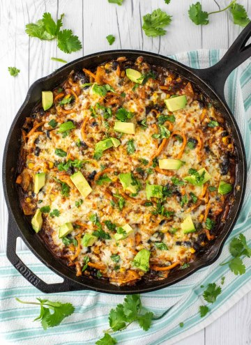 overhead shot of spiralized sweet potato enchilada skillet