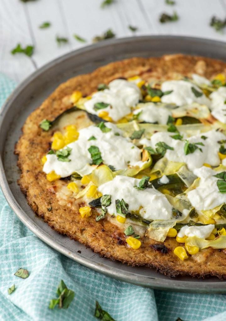 summer pizza with corn, zucchini and poblano pepper