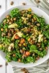 overhead shot of veggie bowl in white bowl