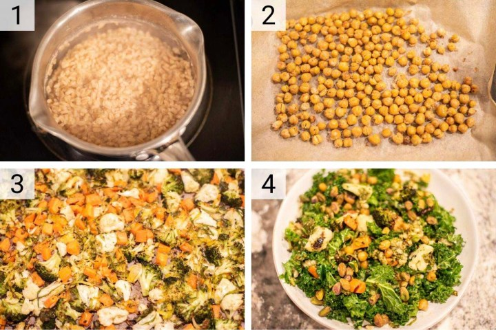 process shots of how to make veggie bowl