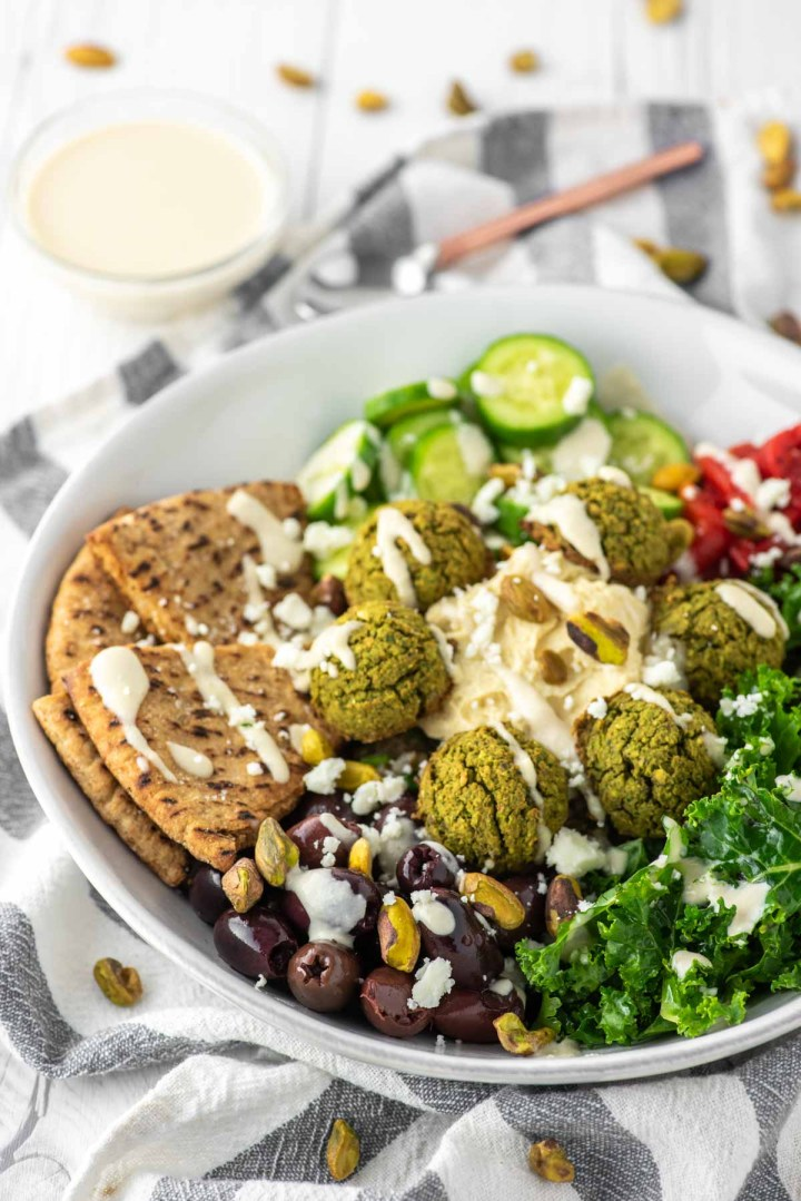 falafel bowl on dish towel