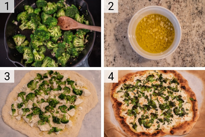 process shots of four cheese white broccoli pizza being made