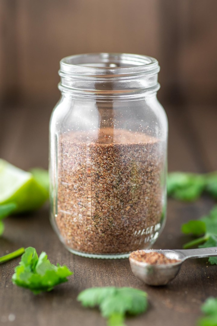 homemade taco seasoning recipe in glass jar