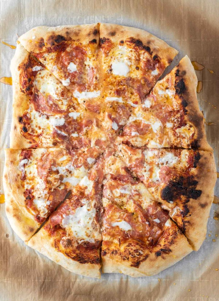 overhead shot of salami pizza