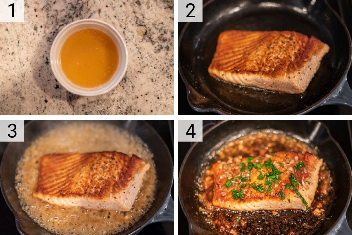 process shots of how to make honey garlic salmon