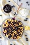 overhead shot of lemon ricotta waffles