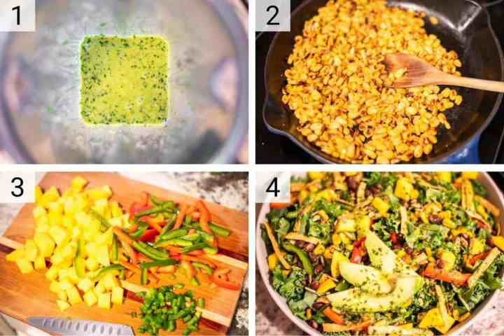process shots of how to make mango quinoa salad