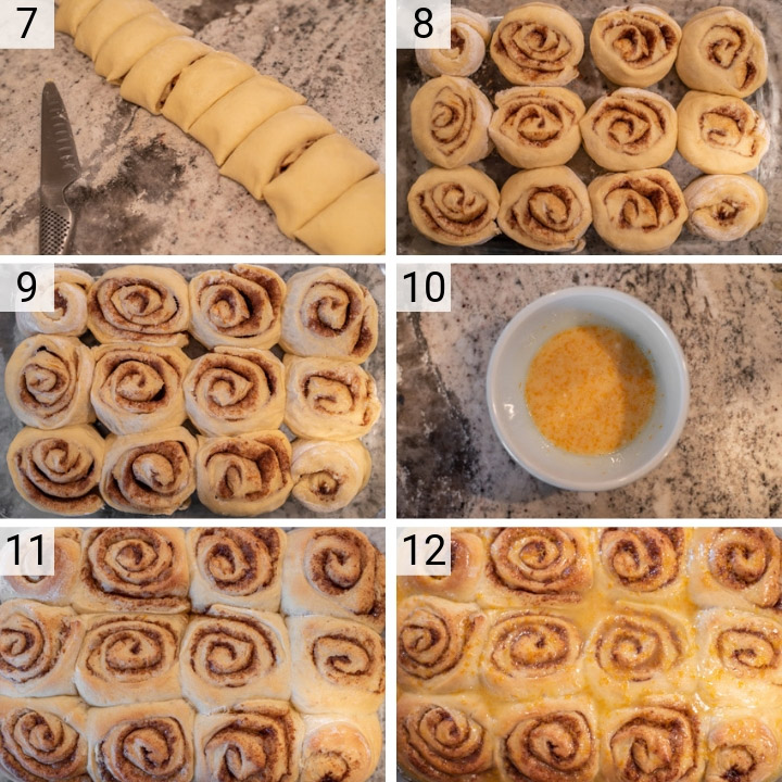 process shots of how to make orange rolls