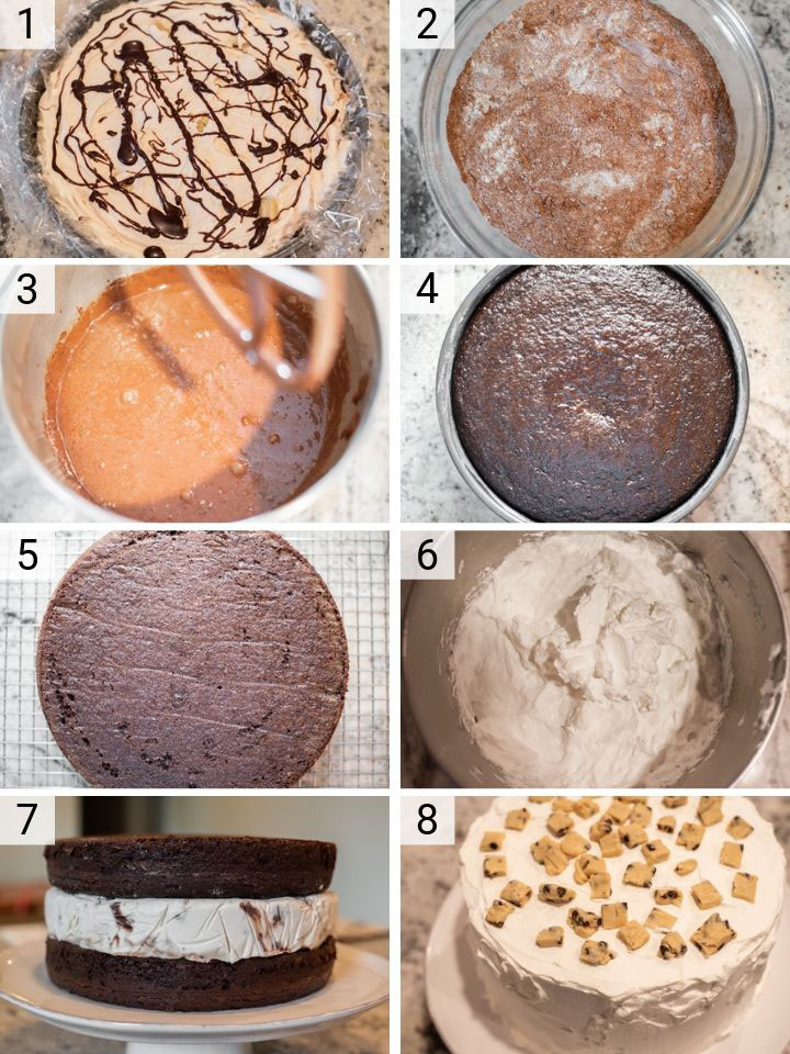 process shots of how to make cookie dough ice cream cake