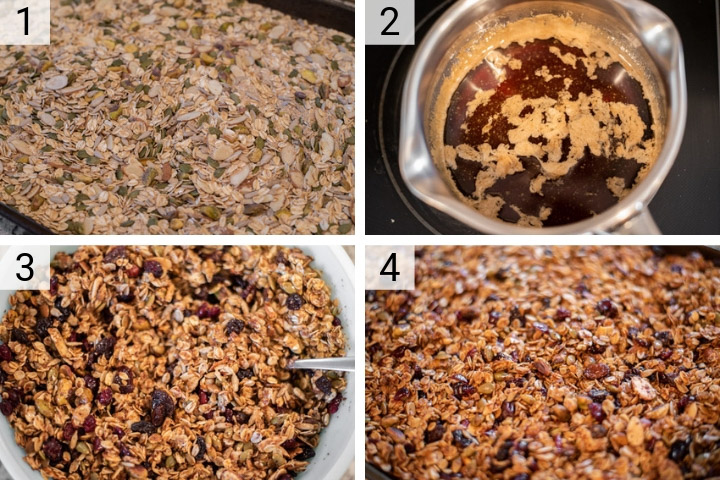 process shots of how to make fruit and nut granola