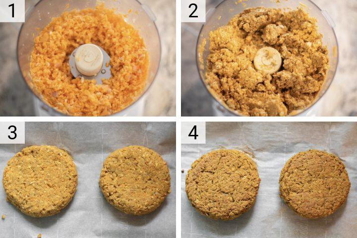 process shots of how to make carrot veggie burgers
