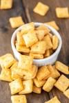 homemade cheese crackers in white ramekin