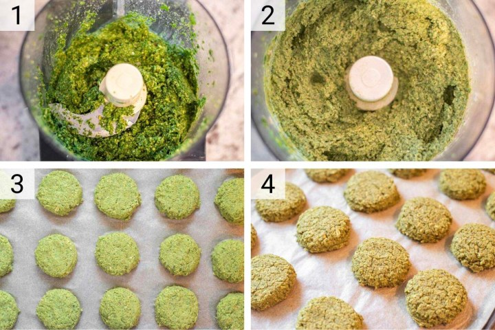 process shots of how to make lentil falafel