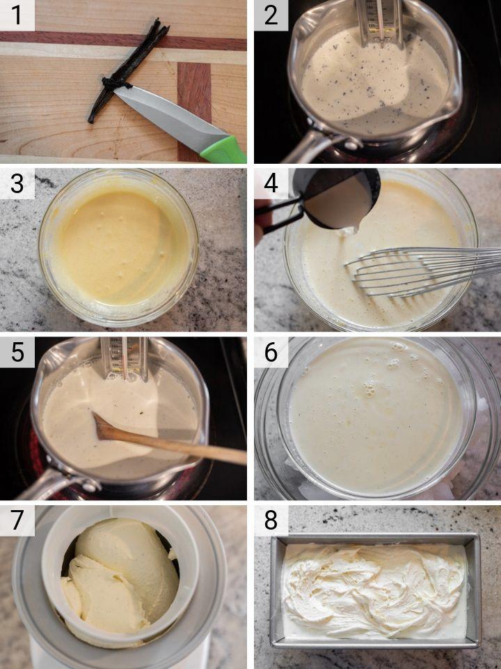 process shots of how to make vanilla bean ice cream