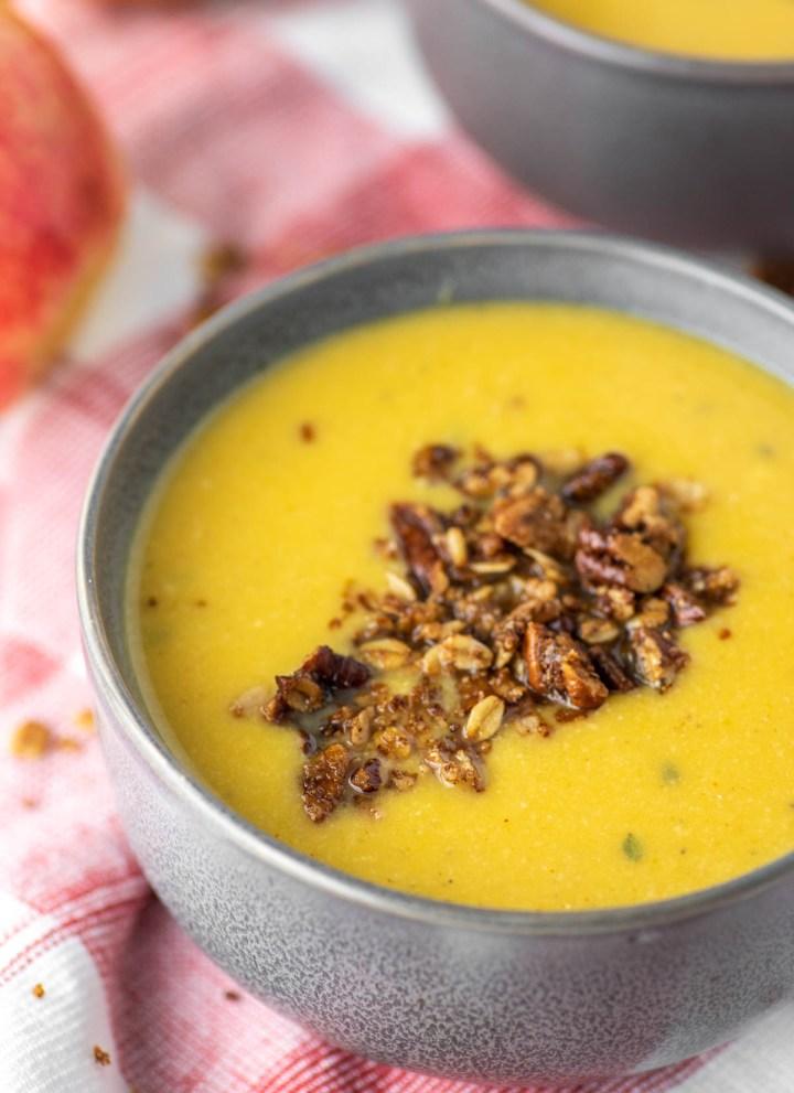 butternut squash apple soup in gray bowl