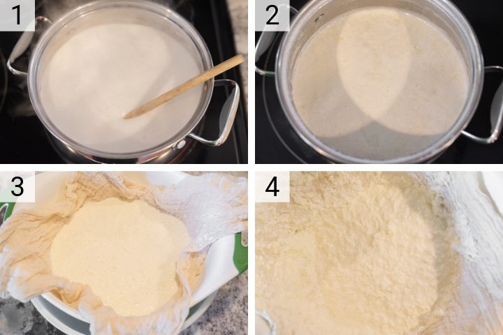 process shots of how to make homemade ricotta