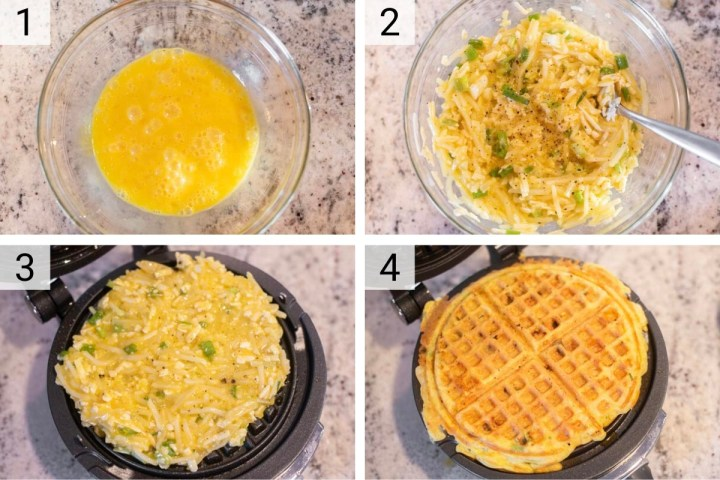 process shots of how to make hash brown waffles