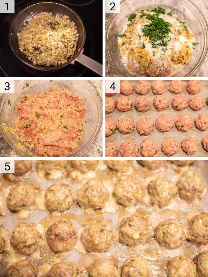 process shots of how to make homemade meatballs