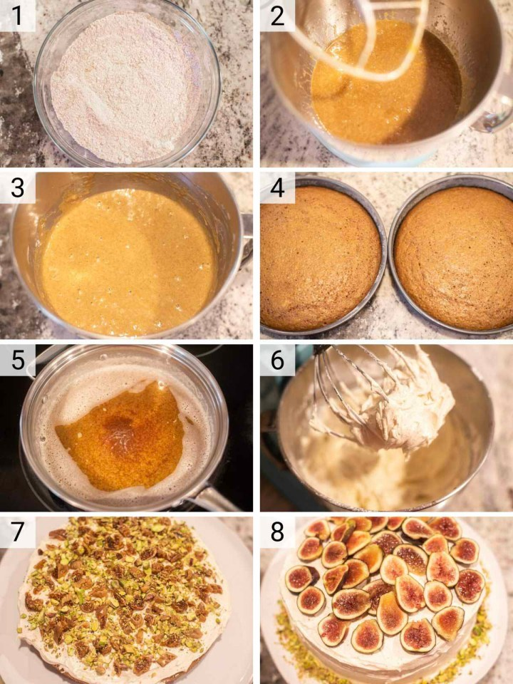 process shots of how to make spice cake