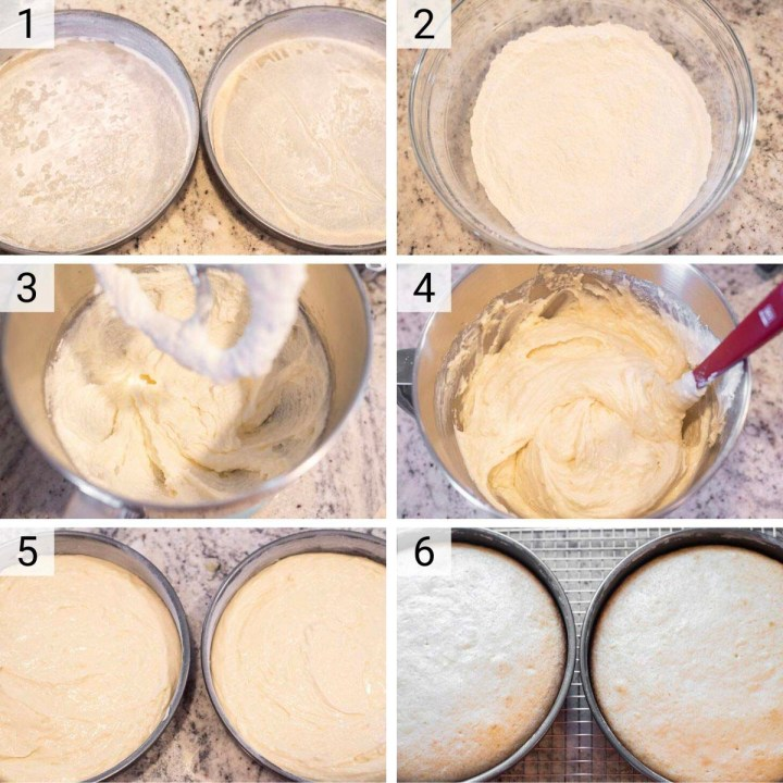 process shots of how to make yellow cake