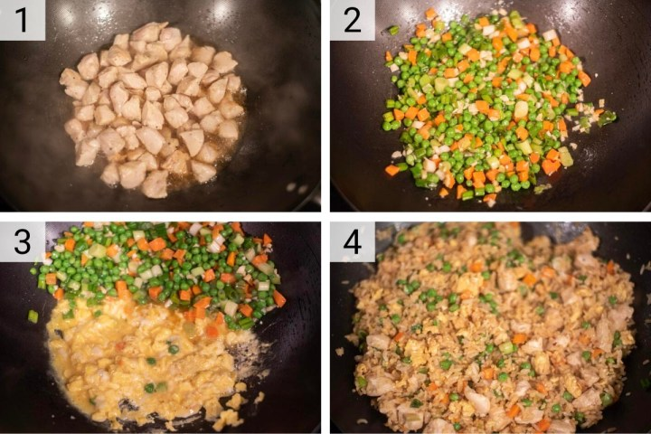 process shots of how to make chicken fried rice