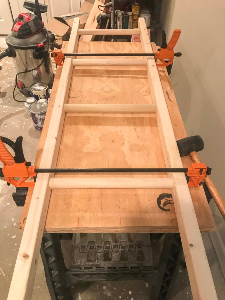 gluing and clamping diy blanket ladder