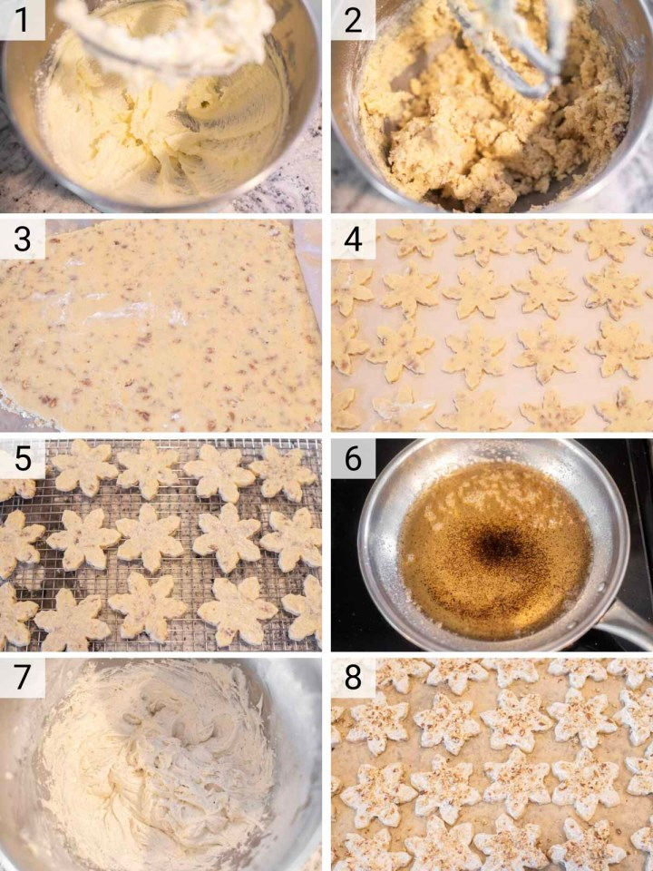 process shots of how to make pecan sugar cookies