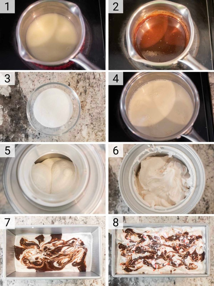 process shots of how to make peppermint ice cream