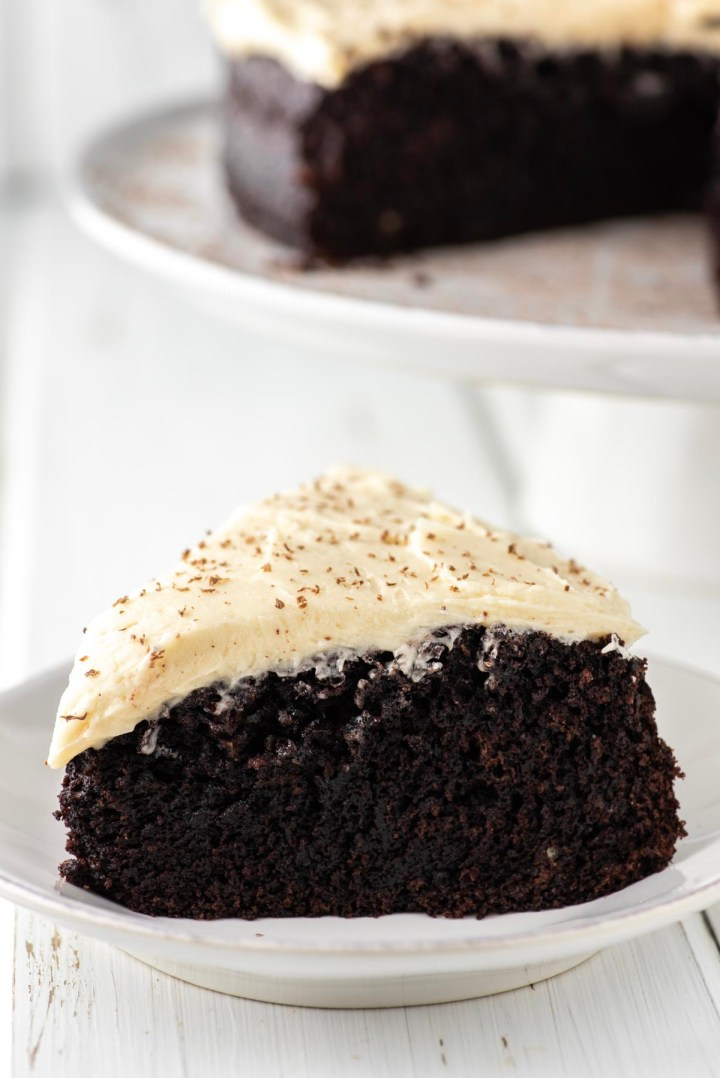 slice of Guinness chocolate cake on white plate