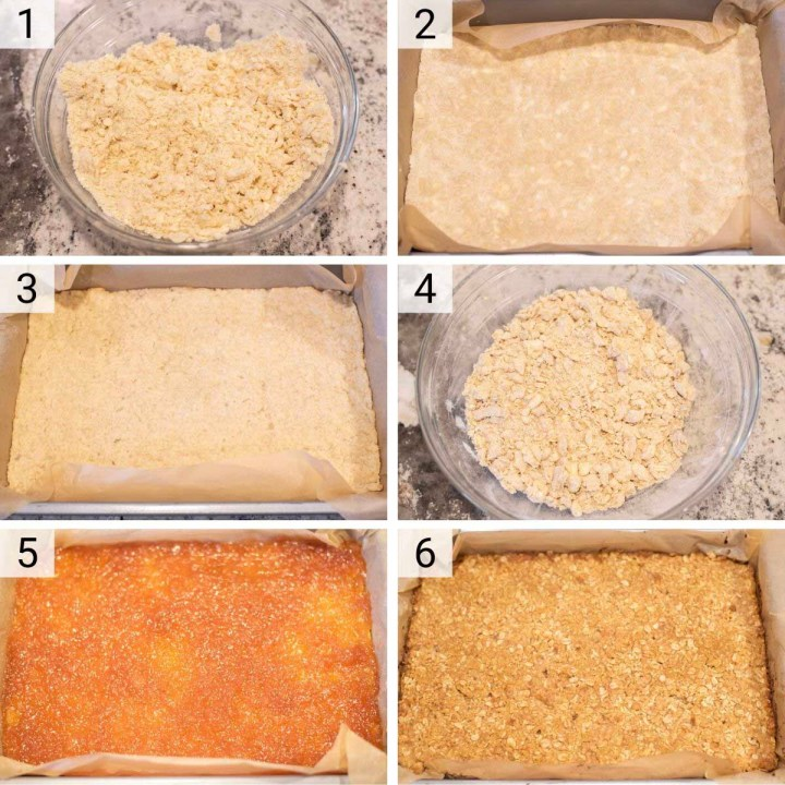 process shots of how to make jam bars