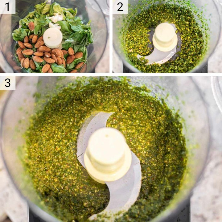 process shots of almond basil pesto