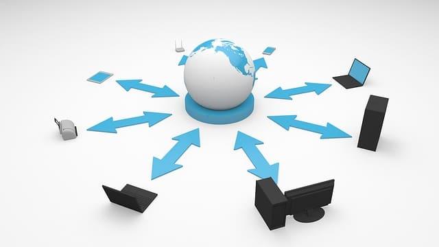 グローバルネットワークに接続したパソコンやコピー機、スマホなどの絵