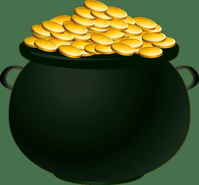 金貨が沢山入った壷