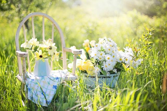 太陽の光に照らされたイスの上の花瓶に入っているきれいな花束