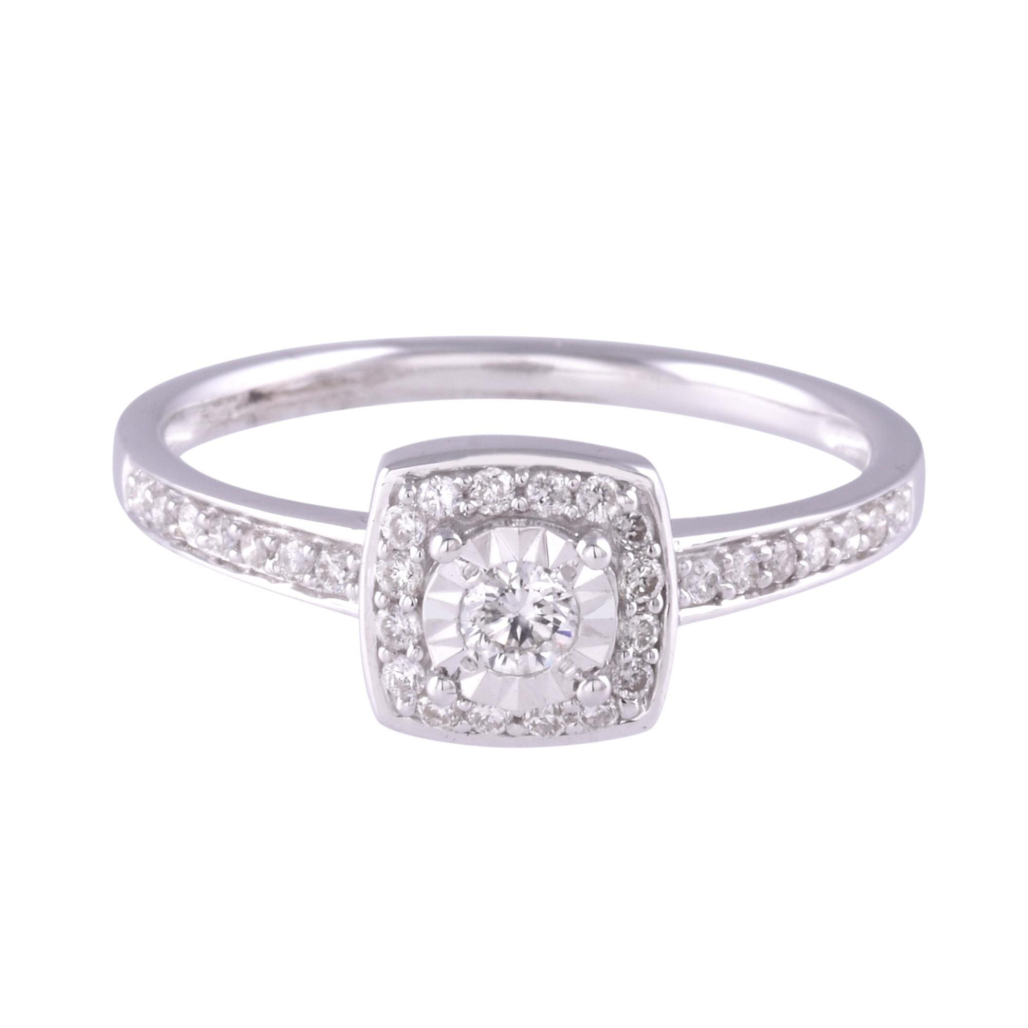 9ct White Gold 0 30ct Diamond Cluster Ring
