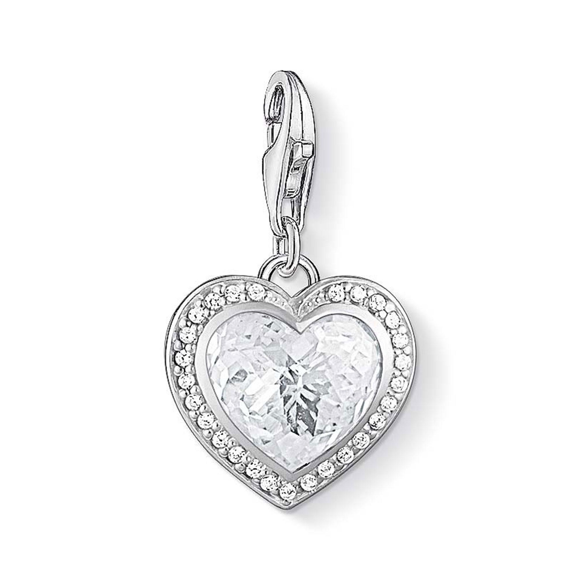 Thomas Sabo Charm Club White Heart Cubic Zirconia Charm