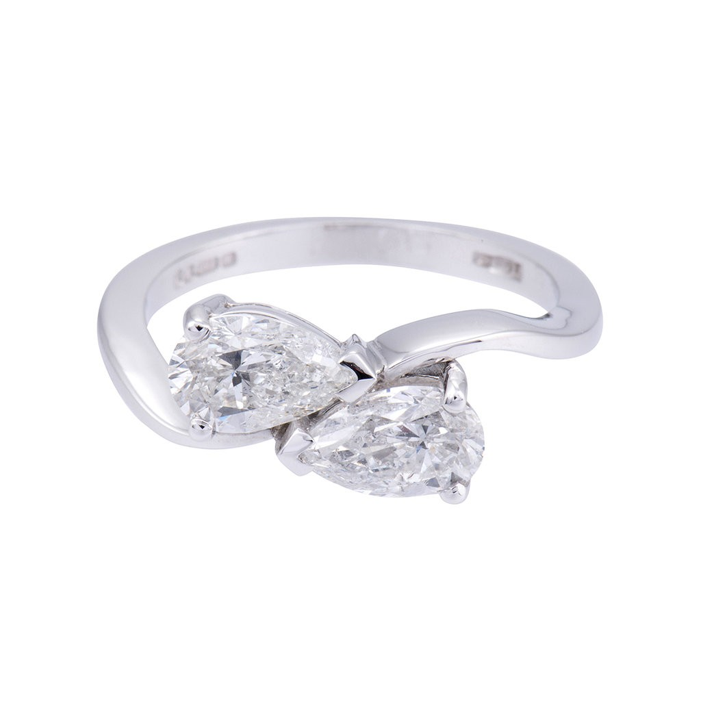 18ct white gold 1.65ct diamond cross over ring