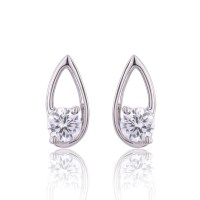 9ct White Gold Round Brilliant Cubic Zirconia Earrings